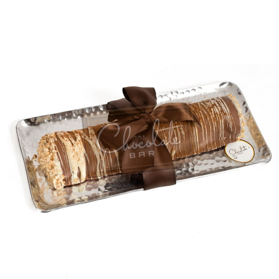 Belgian Chocolate Log On Hammered Gift Tray (dairy) | The ...